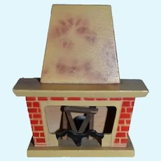 Vintage Miniature Wooden Dollhouse Fireplace 4 inches tall