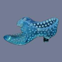 Fenton Blue Opalescent Hobnail Cat Glass Lady's Slipper
