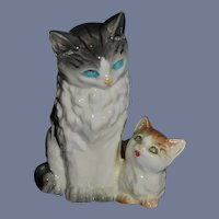 Vintage Ceramic Mother Cat And Kitten