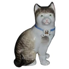 Antique Beautiful Staffordshire Black And White Porcelain Cat