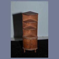 Vintage Miniature Dollhouse Wood Corner Bookshelf 6 1/4 inches