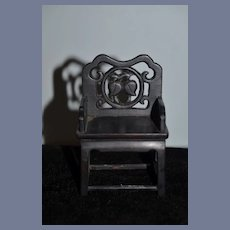Wonderful Wood Carved Fancy Chair For Miniature Doll Petite Size Dollhouse