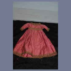 Old Doll Dress W/ Lace Trim Hand Made Charming