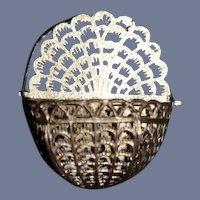 Old Miniature Soft Metal Hinged Lidded Basket w/ Handle