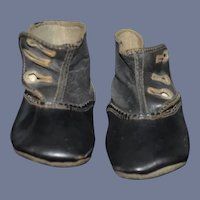 Old Black Leather Button up Boots Shoes For Doll