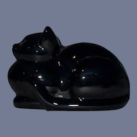Vintage Heavy Solid Black Glass Cat Lying Down