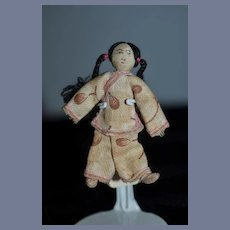 Old Cloth Indian Miniature Doll Drawn on Features Dollhouse