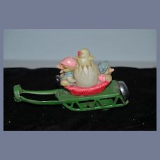 Old Doll Miniature Celluloid Metal Pull Toy W/ Bell