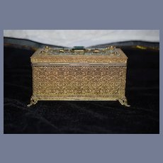 Wonderful Old Footed Beaded Petite Size Miniature Music Box Perfect for Fashion Doll Metal and Wood