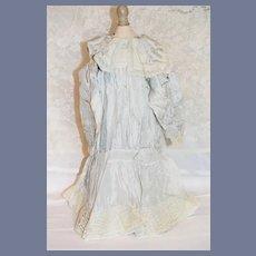 Vintage Doll Dress French Market Silk Dress Drop Waist W/Flower Fancy Lace