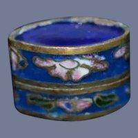 Miniature Blue Enamel Cloisonne 5/8 inch tall Asian Lotus Flower Dollhouse Vintage Box
