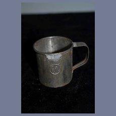 Antique 2 inch Tin Oil Cup Little Metal Mug