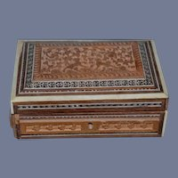 Beautiful Wood Carved and Inlaid Jewelry Box