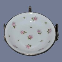 Vintage Miniature  3 1/2 inch diameter Child's Warming Dish White With Pink Flowers Bowl