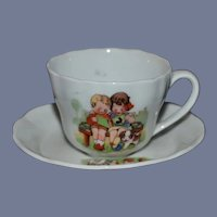 Beautiful Vintage Childs Teacup And Saucer Cat and Dog