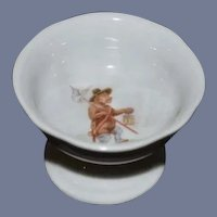 Miniature White Porcelain Wolf themed Compote 1 and 3/4 inch tall