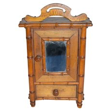 Old Miniature Fashion Doll Size Bamboo Wood Wardrobe W/ Mirror Sweet