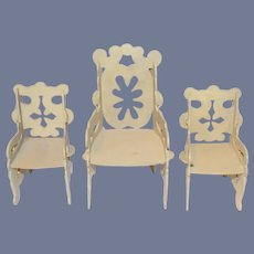Old Ornate Painted Board Furniture  Chair Set Miniature Dollhouse