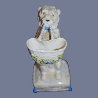 Antique Porcelain Dog W/ Basket Begging Dog Staffordshire Fashion Doll Size Petite Size