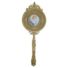 Antique Ornate Metal Victorian Hand Mirror W/ Signed Portrait Gorgeous