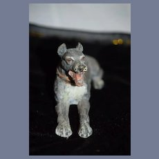 Antique Dog Heavy Metal Cold Painted Miniature Dog Wonderful Dollhouse Doll