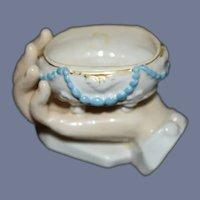 Antique Porcelain Hand Holding Trinket Box Vanity