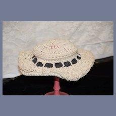 Wonderful Old Doll Crochet Bonnet Hat Fancy Wide Brim Threaded Ribbon