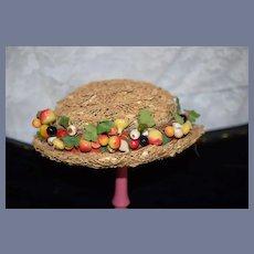 Wonderful Doll Straw Bonnet Hat W/ Fruit  Fancy