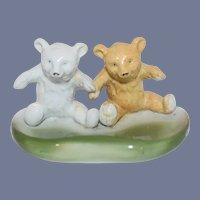 Old Porcelain Teddy Bear  Two Bears Miniature White Bear Brown Bear