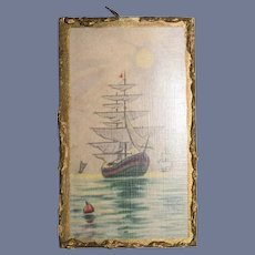 Old Doll Picture Framed Miniature Dollhouse Ship Charming