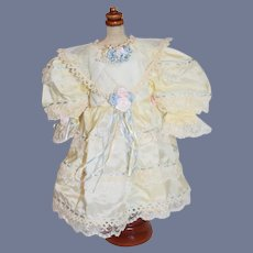 Vintage Doll Dress Hand Made Fancy Lace Flower
