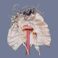 Wonderful Doll Bonnet Fancy French Market Feathers Flowers Lace Trim  Paul Fox Antique Designs