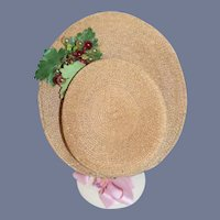 Old Doll Straw Bonnet Hat High Front Brim Fancy French Market