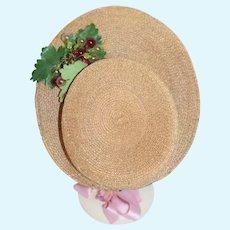 Old Doll Straw Bonnet Hat High Front Brim Fancy French Market