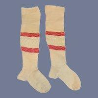 Wonderful Antique Doll Socks Stockings Long W/ Lace Center Fancy