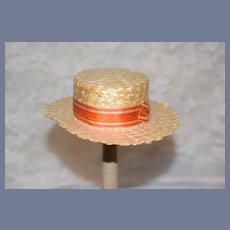 Wonderful Old Straw Doll Hat Bonnet Enesco W/ Ribbon Sweet W/ Marking