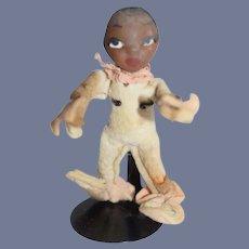 Unusual Jump Jump Black Doll Felt Clothing W/ Sculptured Head SWEET Elf