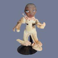Unusual Miniature Black Doll Felt Clothing W/ Sculptured Head SWEET Elf