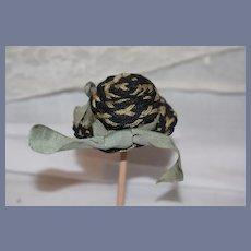 Sweet Vintage Doll Woven Straw Hat Bonnet Petite Size