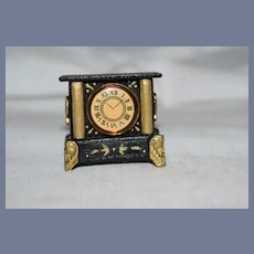 Vintage Artist Miniature Mantle Clock Signed D.C. Price Dollhouse Doll