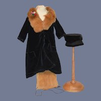 Wonderful Doll Old Velvet Coat W/ Fur Trimmed Coat and Matching Muff and Hat