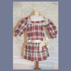 Wonderful Hand Made Doll Dress Drop Waist Plaid W/ Bow