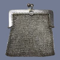 Antique Sterling Mesh Doll Purse For Chatelaine Marked Fashion Doll Size