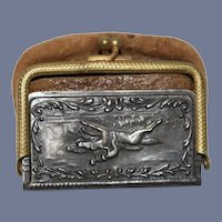 Old Doll Miniature Purse Jockey Riding Horse Leather and Silver Fashion Doll Size