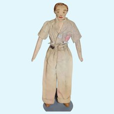 Old Cloth Doll White Man W/ Sewn Features