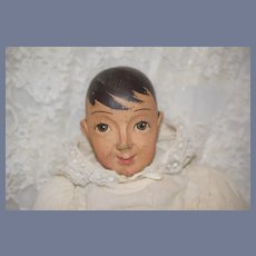 Wonderful Wood Carved Doll Jointed Pegged Doll Straw Stuffed Large