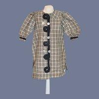 Old Doll Plaid Dress W/ Fancy Trim French Market