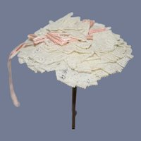 Old Doll Layered Lace Hat or Hat Topper W/ Ribbon