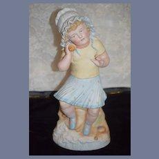 Old Doll Large Heubach Girl W/ Seashell Piano Baby Figurine