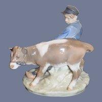 Wonderful Royal Copenhagen Porcelain Figurine Boy W/ Cow Calf